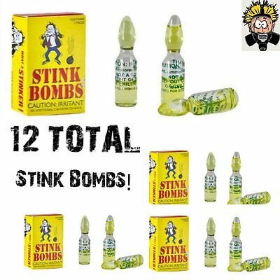 $6.99 • Buy 12 Stink Bombs Glass Vials Stinky Smelly Nasty Fart Gas Bomb Smell Gag Gift