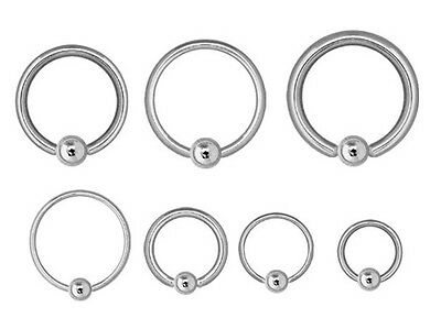 Captive Ring CBR - Steel - Ear Nipple Prince Albert Etc Choose: 0.8mm Up To 10mm • 1.75£