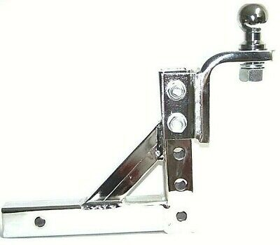 Chrome 10  Adjustable Trailer Drop Hitch Mount For 2  Receiver 1-7/8  Hitch Ball • 56.99$