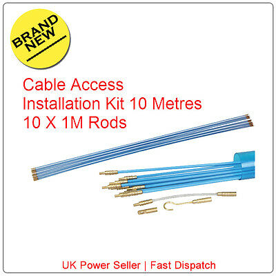 10M Cable Access Kit 1M X 10  Electricians Puller Rods Wires Draw Push Pulling • 10.99£
