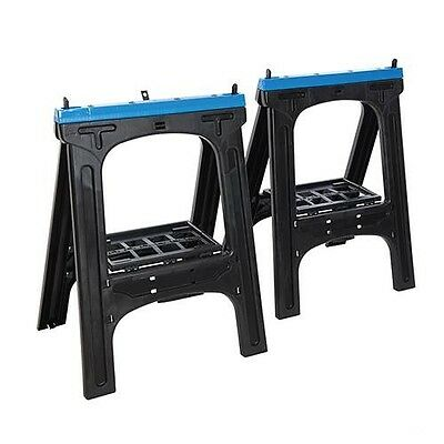 Plastic Saw Horse / Trestles Twin Pack Non-Slip Rubber Inserts Max Load 200kg • 33.99£
