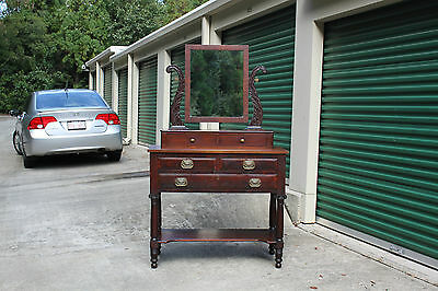 $795 • Buy Classical Empire Mahogany Vanity Dresser Dressing Table W Acanthus Carved Mirror
