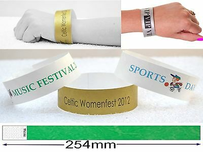 £3.30 • Buy Wristbands Personalised Custom Printed Plain Security Event Numbered 100 Pack
