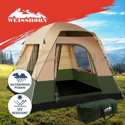 AU110.95 • Buy Weisshorn Family Camping Tent 4 Person Hiking Beach Tents Canvas Ripstop Green