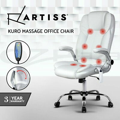 AU229.95 • Buy Artiss 8 Point Executive Massage Office Chair Computer Chairs Armrests White
