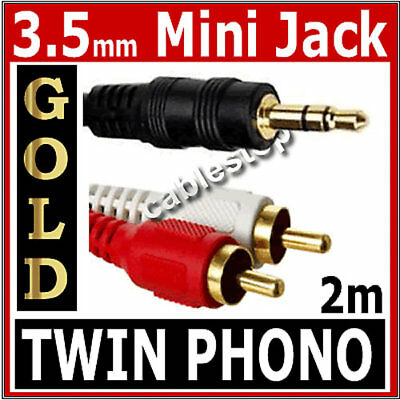 2m Twin RED WHITE 2x RCA PHONO To Stereo 3.5mm Mini Jack STEREO Audio Aux Cable • 2.35£
