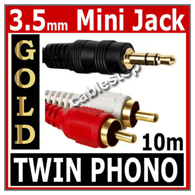 10m Twin RED WHITE 2x RCA PHONO To Stereo 3.5mm Mini Jack STEREO Audio Aux Cable • 3.25£