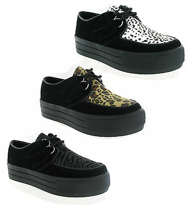 £17.95 • Buy Hucksters Flat Wedge Platform Lace Up Creepers Shoes Womens Goth UK3-8