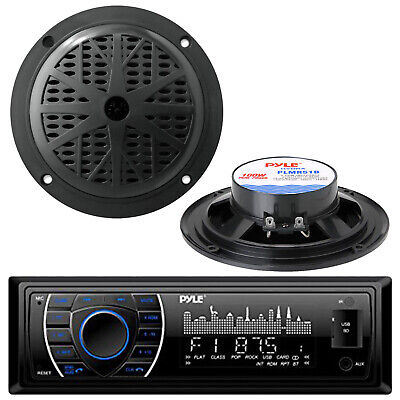 $57.49 • Buy New Pyle PLMRKT12BK 200W Marine Boat MP3 USB SD Player Stereo Radio + 2 Speakers