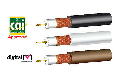 £14.75 • Buy CAI SKY Aerial Coaxial Cable CT100 WF100  Black White Brown Lead Wire 25m Webro