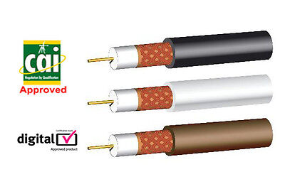 £12.75 • Buy CAI SKY Aerial Coaxial Cable CT100 WF100  Black White Brown Lead Wire 20m Webro