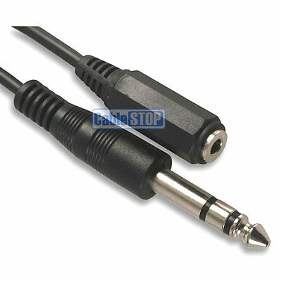 1.8m 6.35mm 1/4  STEREO Plug To 3.5mm Mini Aux Jack Female Socket Audio Cable • 2.95£