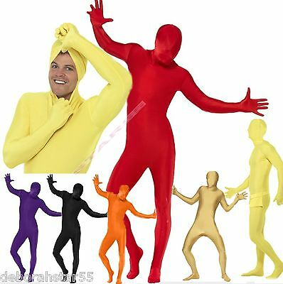 Mens Adult Second Skin Zentai Lycra Bodysuit Fancy Dress Costume  Colours M L XL • 11.95£