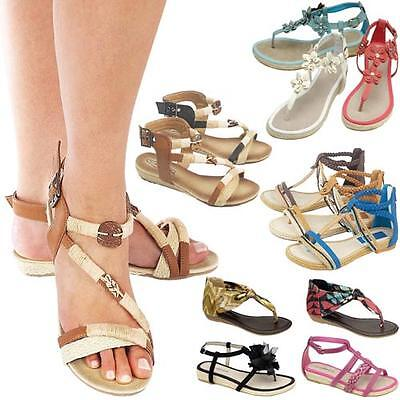 Ladies Flat Sandals Womens Girls Fancy Summer Party Gladiator Wedge Beach Shoes • 4.95£