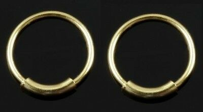 AU8.80 • Buy 2 Gold Plated Over Silver Nose Hoop Rings Endless 22g 7mm (inside Diameter) #NS