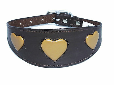 £18.95 • Buy Brown With Tan Heart Leather Greyhound Collar Whippet Collar Dog Collar Galgos