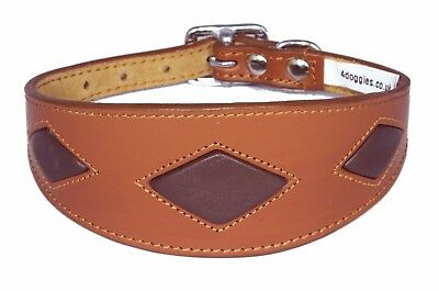 £18.72 • Buy Leather Greyhound Dog Whippet Dog Collar Tan Brown Diamond Shape Collier Levrier