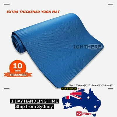 AU39.95 • Buy Yoga Mat Pilates Fitness Exercise Gym 1cm Thick 10mm Thickened Blue