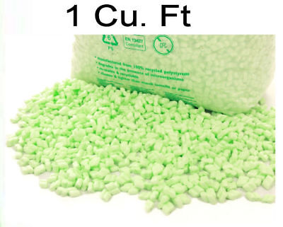 £6.90 • Buy 1 Cu Ft  Flo-Pak GREEN Polystyrene Packing Peanuts Chips Void Fill