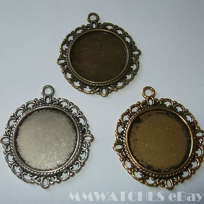 ROUND ANTIQUE SILVER BRONZE OR GOLD CAMEO CABOCHON PENDANT SETTING TRAY 20mm C06 • 2.49£