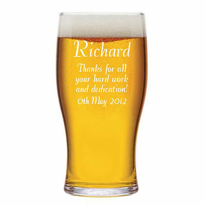 Personalised 1 Pint Tulip Beer Glass Retirement Gift Engraved With Any Message. • 9.99£