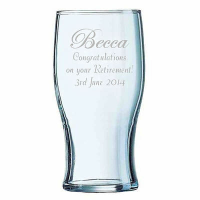 Personalised 1 Pint Lager Beer Glass Retirement Gift Engraved With Any Message. • 8.99£