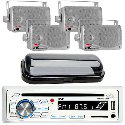 $128.49 • Buy Marine Boat CD MP3 AM/FM Radio Player & Bluetooth 4 Silver Box Speakers & Cover