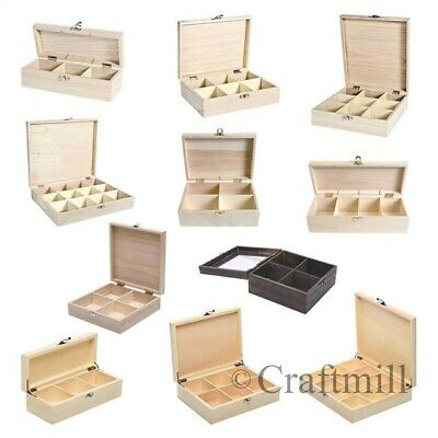 Plain Wooden Storage Boxes, Compartments - Beads Jewellery, Tea, Fishing Tackle • 10.29£