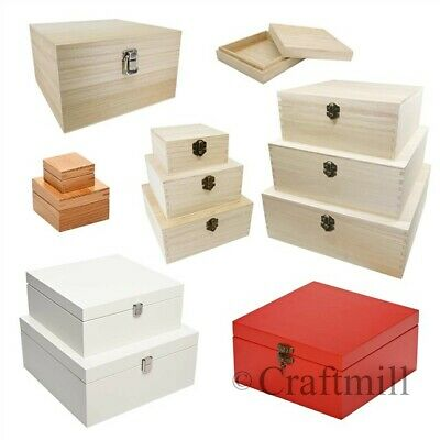 Plain Wood Wooden Square Hinged Storage & Christmas Eve Boxes - Choice Of Sizes • 12.78£