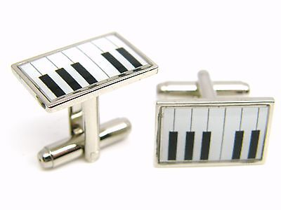 £4.99 • Buy Keyboard Piano Design Cufflinks Mens Gents Ladies Novelty Badge In Gift Pouch