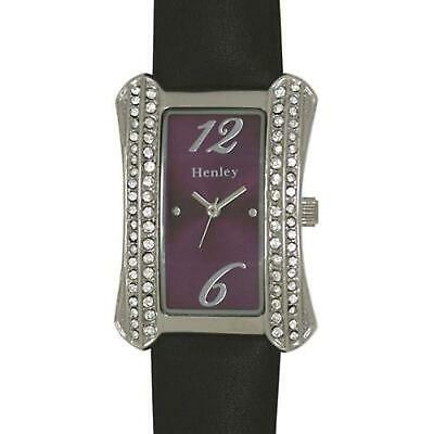 £15.95 • Buy Henley Glamour Ladies Curved Black Strap Watch With Diamante Crystals H06017.7