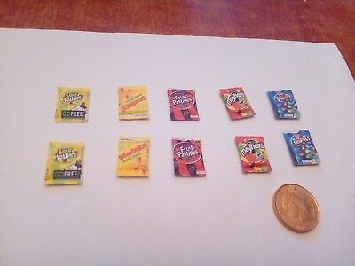 1/12 Scale Assorted Sweet Packs Set Of 10 For Dollhouse • 1.50£