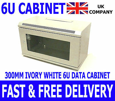 6U 19  White Comms Cabinet Network Data Wall Rack For Patch Panel Switch & PDU • 64.99£