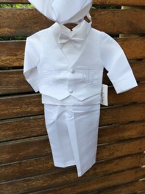 AU55 • Buy Boys Baby Children White Long Sleeves Christening Shower Outfits Suits 4 Pcs Set