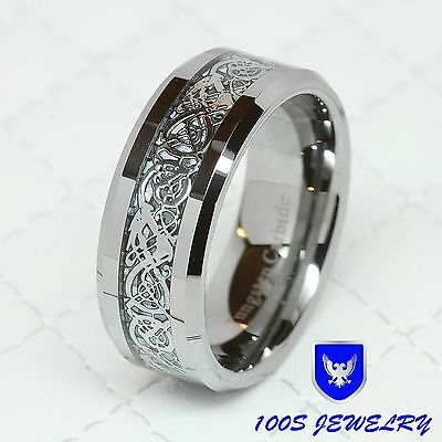 $13.99 • Buy 8MM Tungsten Carbide Silver Celtic Dragon Inlay Mens Ring Wedding Band Size 8-14