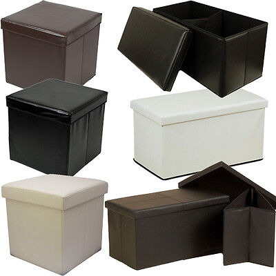Large Faux Leather Ottoman Folding Storage Chest Box Stool Seat Foot Pouffe Toy  • 19.95£