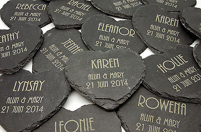 £60 • Buy Personalised Heart Shape Slate Coasters, Laser Engraved Wedding Gifts & Favours