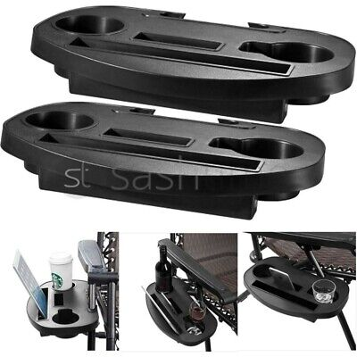 £14.95 • Buy 2 X Clip On Side Table Tray For Zero Gravity Sun Lounger/Camping Chair Outdoor