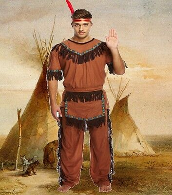 £12.99 • Buy Adult Mens Male RED INDIAN CHIEF Fancy Dress Up Costume Native American U00 088