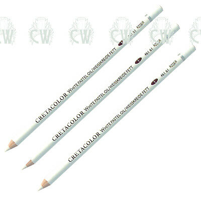 3 X Cretacolor Artists WHITE Oil Pastel Pencils. Quality For Drawing & Sketching • 6.40£