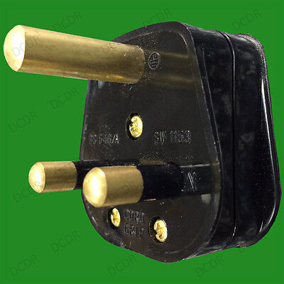15A Black Round 3 Pin Mains Plug, BS546/A 15 Amp For Heavy Duty Theatre Lighting • 4.99£