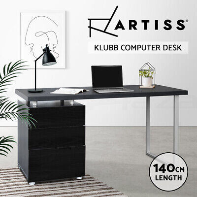 AU229.90 • Buy Artiss Office Computer Desk Study Table Home Metal Student Drawer Cabinet Black