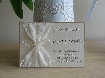 10 X Handmade Vintage Lace Save The Date Cards Wedding  • 15£