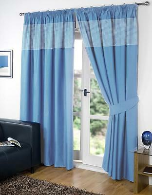 £15.75 • Buy Blue Pair Of Kids Gingham 46'' X 54'' Pencil Pleat Thermal Blackout Curtains