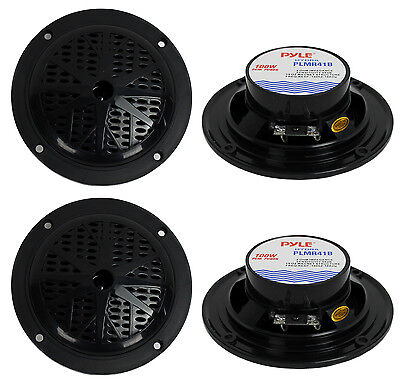 $34.99 • Buy 4) PYLE PLMR41B 4  200W Dual Cone Waterproof Marine Boat Stereo Speakers 2 PAIRS
