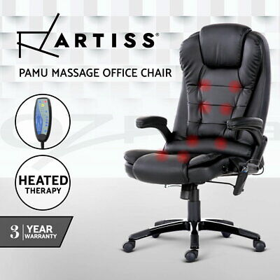 AU184.95 • Buy Artiss Massage Gaming Office Chair 8 Point Heated Chairs Computer Seat Black