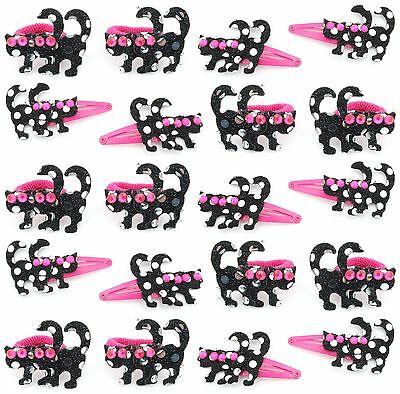 $ CDN8.53 • Buy Zest 20 Sequinned Cat Hair Accessories 10 Ponios & 10 Clips Pink & Black