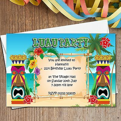 10 Personalised LUAU Hawaii Summer Garden Birthday Party Invitations N165 • 4.95£