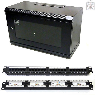 AU176.84 • Buy 6U Black 300mm Data Cabinet + Cat6 Patch Panel Network Data LAN Comms Wall Rack