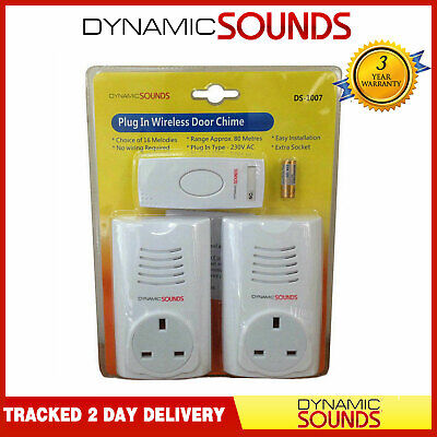 £14.99 • Buy Dynamic Twin Double Plug In Cordless Door Bell Chime Mains Socket 38 Melodies